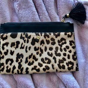 JCrew leopard print clutch